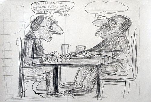 Desenho a lápis preto de dois homens sentados à mesa